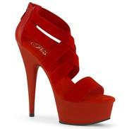 Pleaser USA Delight 609 6? Red Stiletto Heel Platform Criss-Cross Elas
